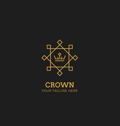 gold crown logo with oriental chinese asian vector image