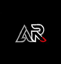Grunge white red black alphabet letter ar a r vector