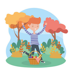 happy man with basket food picnic nature landscape vector image