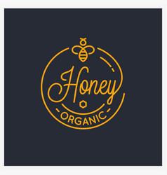 honey bee logo round linear logo comb vector image