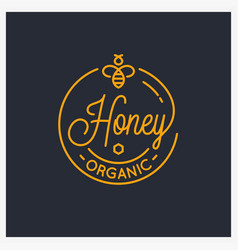 honey bee logo round linear logo honey comb vector image