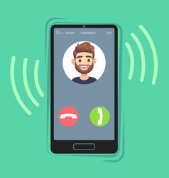 Incoming call on mobile phone friend photo vector