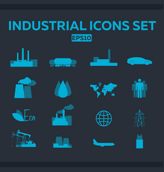 industrial and factory icons set flat vector image