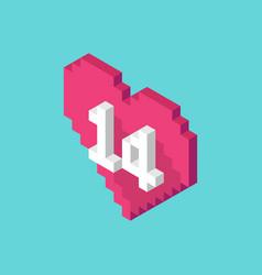 isometric pixel valentines day heart icon vector image