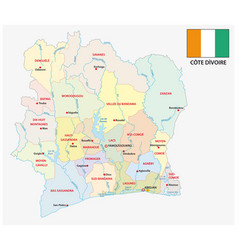 Ivory coast administrative and political map vector