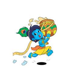Little krishna cartoon character running vector