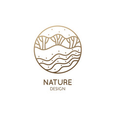 Logo nature elements in linear style vector