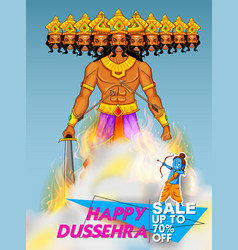 Lord rama and ten headed ravana for happy dussehra vector