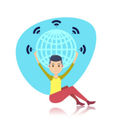 man character sitting holding world globe wireless vector image