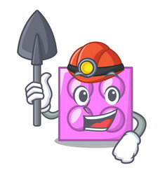 Miner toy brick mascot cartoon vector
