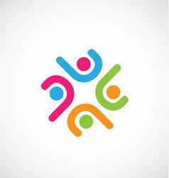 minimalism teamwork people icon logo vector image