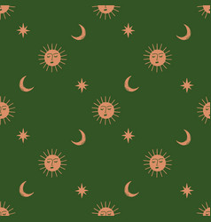 moon and sun celestial boho seamless pattern in vector image