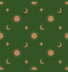 Moon and sun celestial boho seamless pattern vector