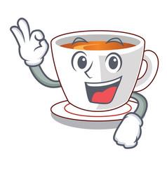 Okay cup mint tea the shape mascot vector