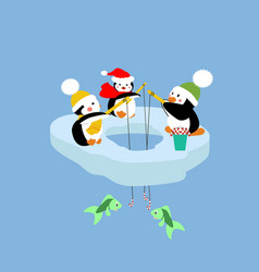 Penguins fishing on an ice floe vector