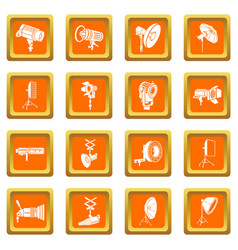 photography icons set orange square vector image