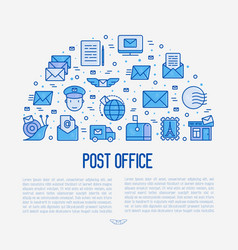 post office concept in half circle vector image