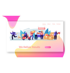 post office service people send letters parcels vector image