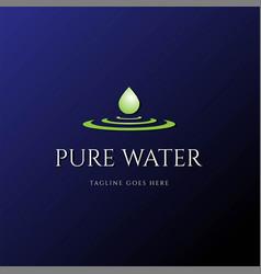 Pure water aqua liquid oil drop logo design vector