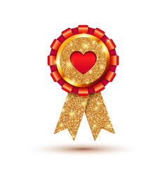 red heart like golden medal template vector image