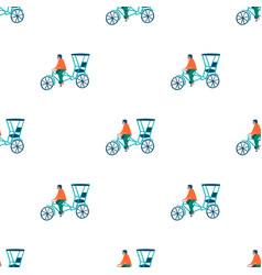rickshaw seamless pattern vector image