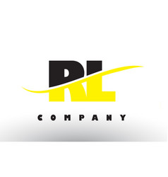 Rl r l black and yellow letter logo with swoosh vector