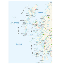 road map scottish archipelago hebrides at the vector image