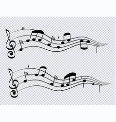 Row musical notes and chords black color on vector