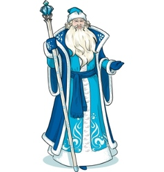 Russian Christmas Character Father Frost in blue vector