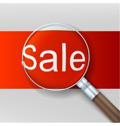Sale Magnifying glass over red background vector