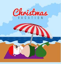 Santa claus on a beach christmas summer vacations vector