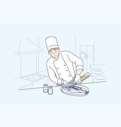 sea cuisine cooking fish concept vector image