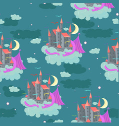 seamless pattern with childish a castle vector image
