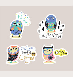 Set of cartoon stickers patches or pins vector