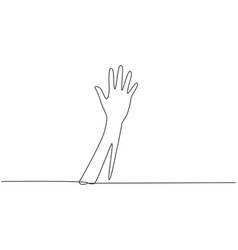 Single continuous line drawing hand count number vector