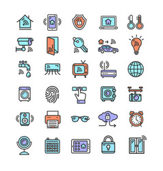 Smart home signs color thin line icon set vector