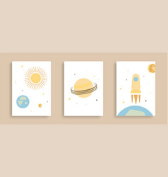 Space set posters in minimalistic abstract vector