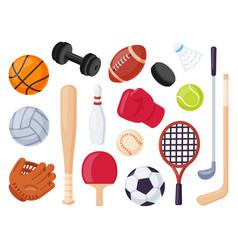 sport equipment cartoon balls and gaming item vector image