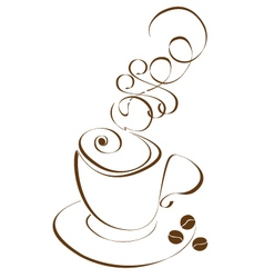 Stylized cup coffee vector