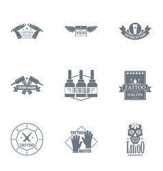 Tattoo logo set simple style vector