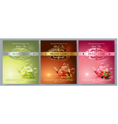 Tea packaging banners vector