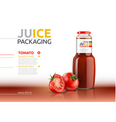 tomato juice packaging realistic mock up vector image