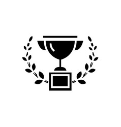 trophy with wreath icon vector image