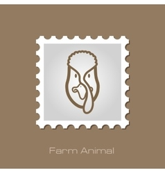 Turkey stamp Animal head vector