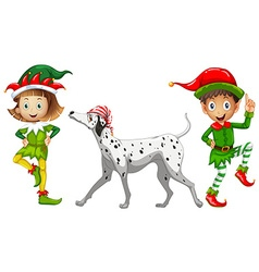 Two elves and pet dog vector
