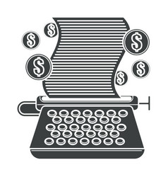typing machine with paper and dollar coins vector image