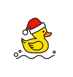 yellow rubber duck merry christmas icon isolated vector image
