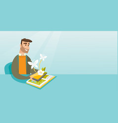 Young man holding tablet computer above the book vector