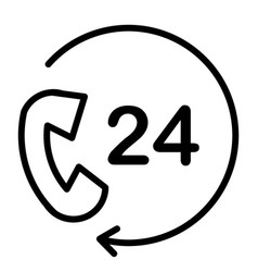24 hours service support line icon 48x48 vector image vector image