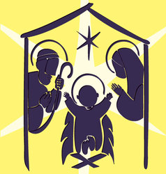 Baby Jesus in a manger abstract vector image